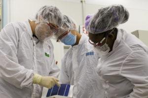 2016 REU students working at the Solar Power Lab at ASU.